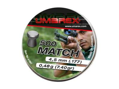 Umarex Plombs plats Match 4.5mm (.177) Pellet 0.48g (x500)