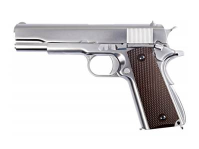 WE M1911 Chrome Mate V3 GAZ Blowback Plaquettes bakélite 0.9J